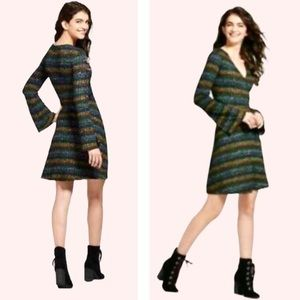 Mossimo Striped Knit Bell Sleeve Faux Wrap Dress